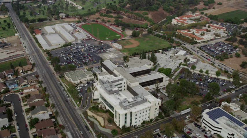 8K stock footage aerial video of Providence Holy Cross Medical Center in Mission Hills, California Aerial Stock Footage | AX0157_079