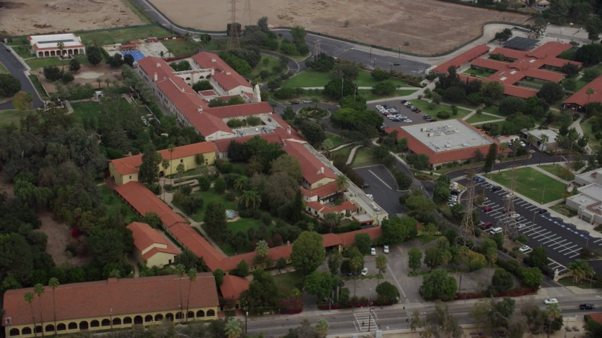 8K stock footage aerial video of Bishop Alemany High School, Mission Hills, California Aerial Stock Footage | AX0157_083