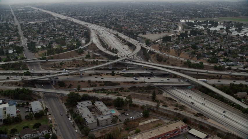 8K stock footage aerial video of Interstate 5 and Highway 118 Interchange in Mission Hills, California Aerial Stock Footage | AX0157_085