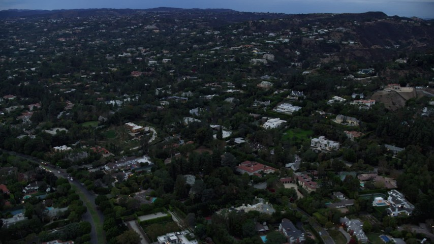 8K stock footage aerial video of upscale homes and mansions, twilight, Beverly Hills, California Aerial Stock Footage | AX0158_022