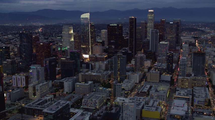 8K stock footage aerial video of the tall towers of downtown at twilight in Downtown Los Angeles, California Aerial Stock Footage | AX0158_046