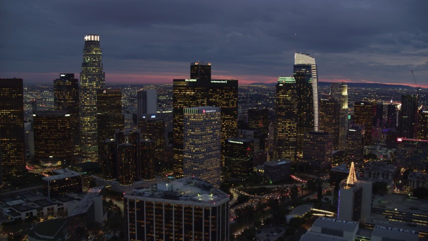 8K stock footage aerial video approaching Downtown Los Angeles, California at twilight Aerial Stock Footage | AX0158_058