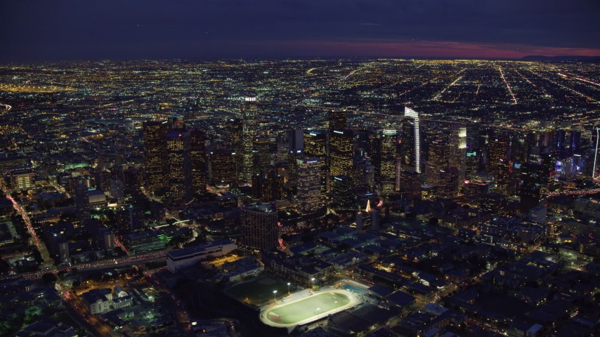 8K stock footage aerial video of a wide view of Downtown Los Angeles, California at night Aerial Stock Footage | AX0158_075