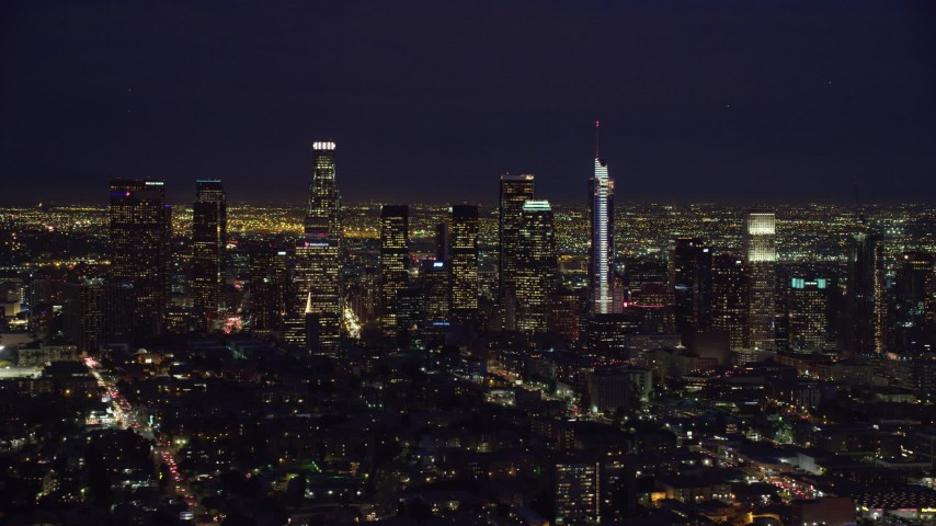 8K stock footage aerial video of Downtown Los Angeles, California at night from north of downtown Aerial Stock Footage | AX0158_087