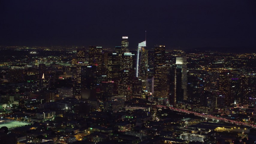 8K aerial video of Downtown Los Angeles, California at nighttime Aerial Stock Footage | AX0158_089