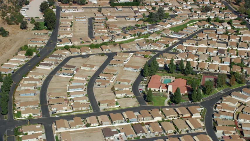 8K stock footage aerial video of a manufactured Home Community, Sylmar, San Fernando Valley, California Aerial Stock Footage | AX0159_007
