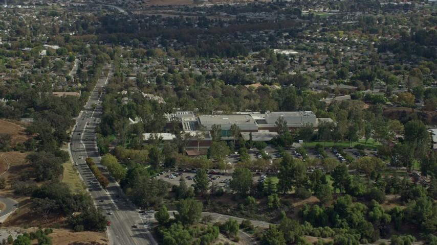8K stock footage aerial video of the California Institute of the Arts, Santa Clarita, California Aerial Stock Footage   AX0159_020