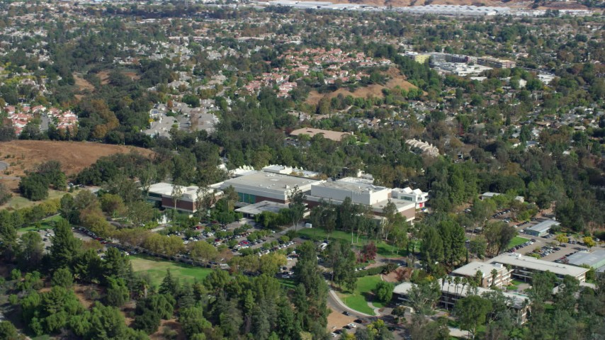 8K stock footage aerial video of a medium view of the California Institute of the Arts, Santa Clarita, California Aerial Stock Footage | AX0159_021