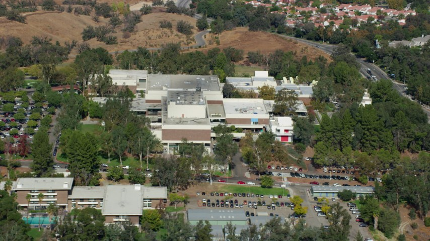 8K stock footage aerial video of the California Institute of the Arts, Santa Clarita, California Aerial Stock Footage | AX0159_022