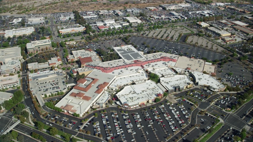 8K stock footage aerial video orbiting a shopping mall, Santa Clarita, California Aerial Stock Footage | AX0159_025