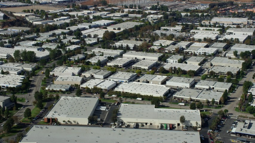 8K stock footage aerial video of office buildings and warehouses, Valencia, California Aerial Stock Footage | AX0159_034