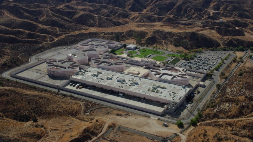 8K stock footage aerial video of a supermax correctional facility, Pitchess Detention Center, Valencia, California Aerial Stock Footage | AX0159_043