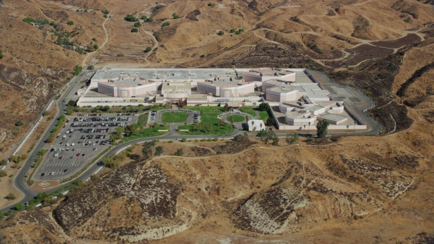 8K stock footage aerial video of a detention facility, Valencia, California Aerial Stock Footage | AX0159_045