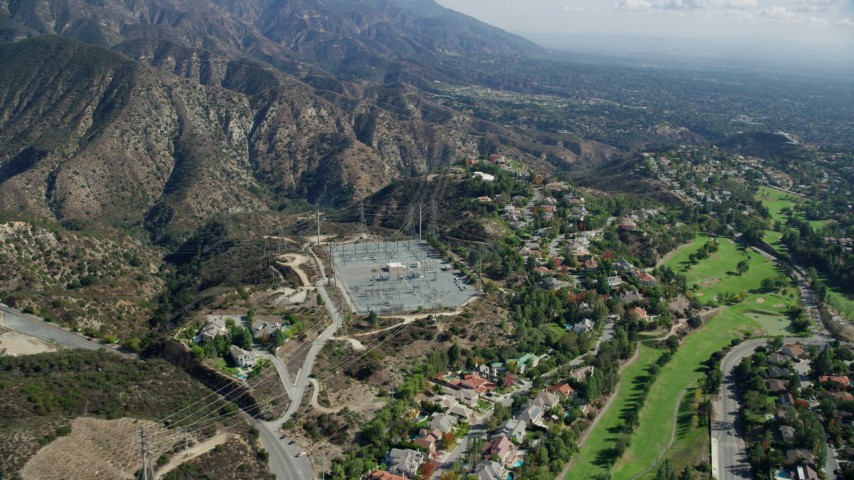 8K stock footage aerial video of a power station near a country club, La Cañada Flintridge, California Aerial Stock Footage | AX0159_065