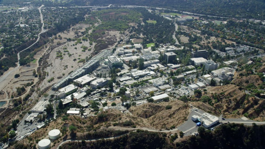 8K stock footage aerial video approaching Jet Propulsion Laboratory campus, Pasadena, California Aerial Stock Footage | AX0159_067