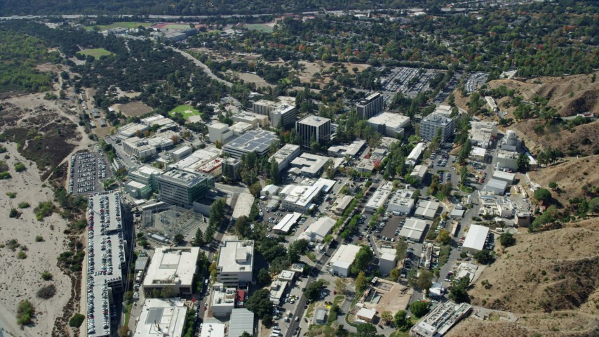 8K stock footage aerial video orbiting research buildings on the JPL campus, Pasadena, California Aerial Stock Footage | AX0159_068