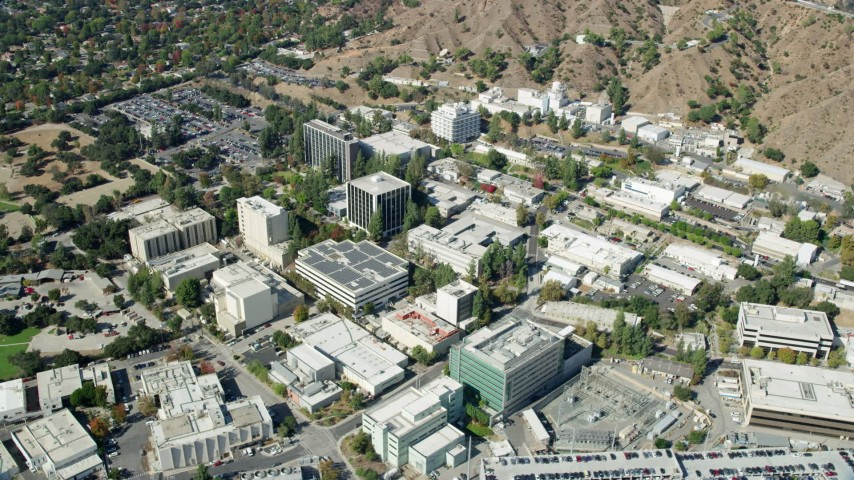 8K stock footage aerial video orbiting research facility buildings at JPL, Pasadena, California Aerial Stock Footage | AX0159_069