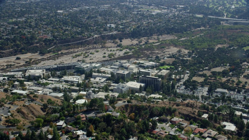 8K stock footage aerial video of the JPL campus, Pasadena, California Aerial Stock Footage | AX0159_074