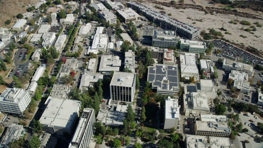 8K stock footage aerial video tilting down to bird's eye of buildings on the JPL campus, Pasadena, California Aerial Stock Footage AX0159_086 | Axiom Images