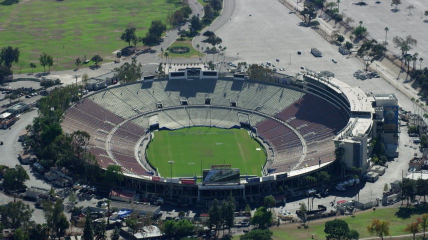 8K stock footage aerial video orbiting Rose Bowl Stadium, Pasadena Aerial Stock Footage | AX0159_088