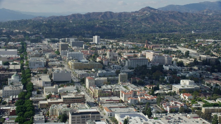 8K stock footage aerial video orbiting Pasadena City Hall and office buildings in Pasadena, California Aerial Stock Footage AX0159_098 | Axiom Images