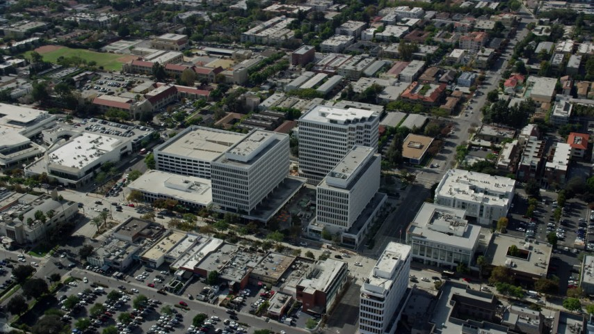 8K stock footage aerial video circling office buildings in Pasadena, California Aerial Stock Footage | AX0159_108