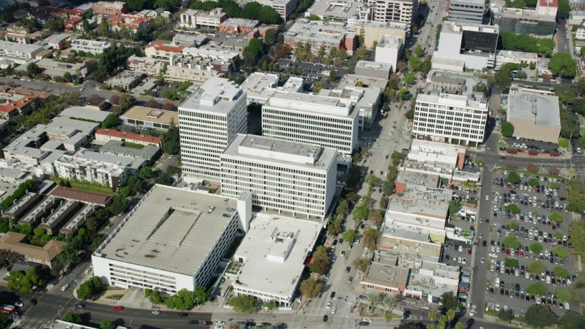 8K stock footage aerial video orbiting office buildings in Pasadena California Aerial Stock Footage | AX0159_109