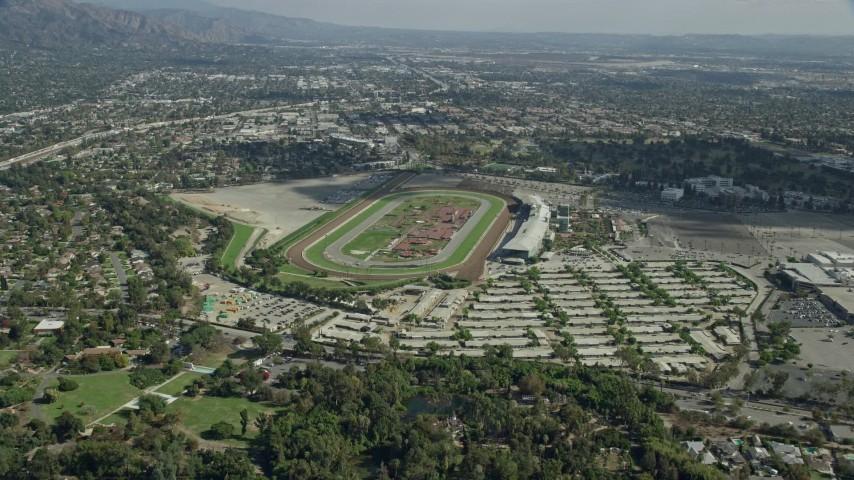 8k Stock Footage Aerial Video Approaching The Santa Anita