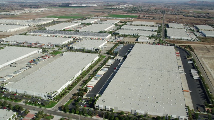 8K stock footage aerial video of several warehouses in Chino, California Aerial Stock Footage | AX0159_152