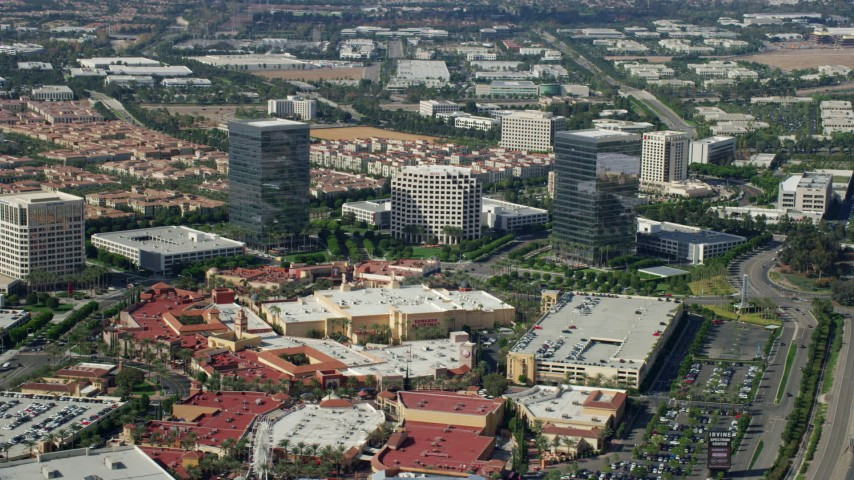 8K stock footage aerial video of office buildings and shopping mall, Irvine, California Aerial Stock Footage | AX0159_169