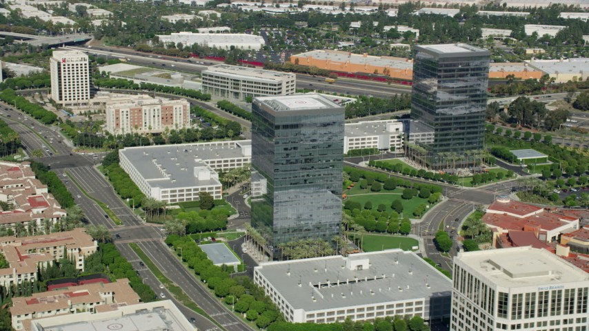 8K stock footage aerial video office buildings at Irvine Spectrum Center Office Buildings, Irvine, California Aerial Stock Footage | AX0159_171
