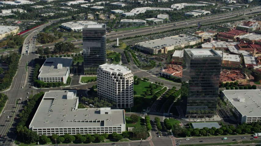 8K stock footage aerial video orbiting office buildings along Alton Parkway, Irvine, California Aerial Stock Footage | AX0159_172