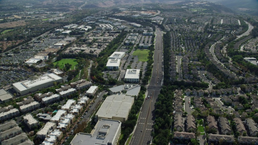 8K stock footage aerial video flying over Aliso Viejo Parkway, Aliso Viejo, California Aerial Stock Footage | AX0159_179