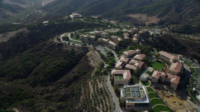 8K stock footage aerial video of Soka University of America in the hills of Aliso Viejo, California Aerial Stock Footage AX0159_181