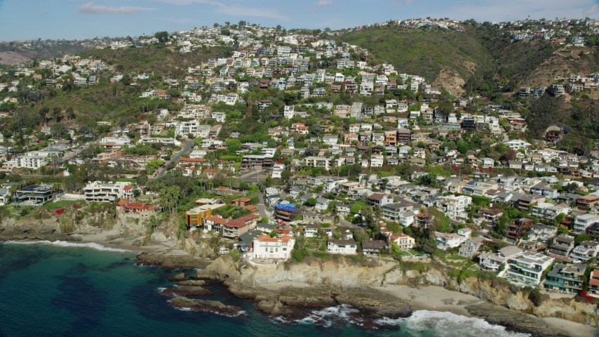 8K stock footage aerial video of oceanfront homes, Laguna Beach, California Aerial Stock Footage | AX0159_208