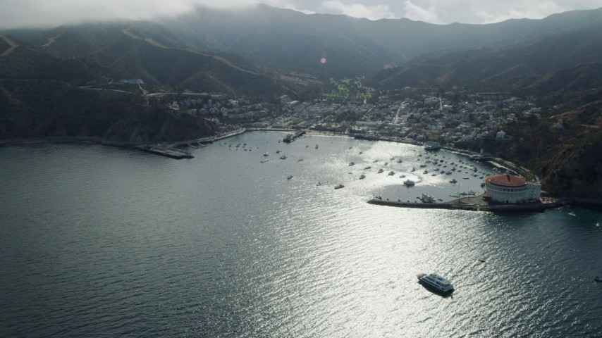 8K stock footage aerial video of the bay and the town of Avalon, Catalina Island, California Aerial Stock Footage | AX0159_255