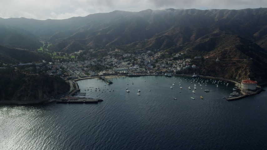 8K stock footage aerial video of Avalon Bay and the town of Avalon, Catalina Island, California Aerial Stock Footage | AX0159_256