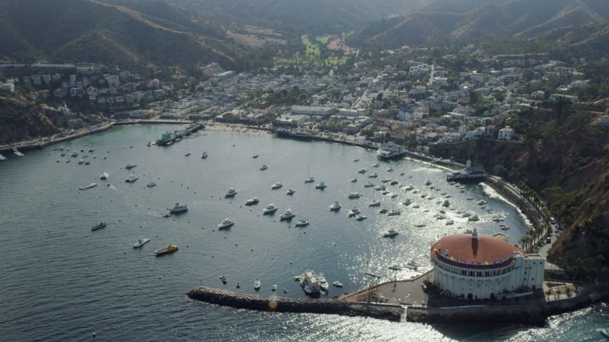 8K stock footage aerial video flying by boats in Avalon Bay harbor and the island town of Avalon on Santa Catalina Island, California Aerial Stock Footage | AX0159_263