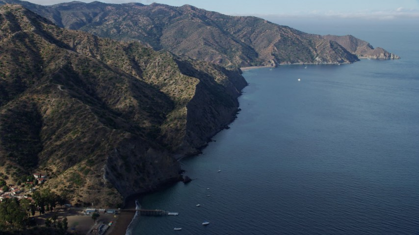 8K stock footage aerial video following the coast of Santa Catalina Island, California Aerial Stock Footage | AX0159_266