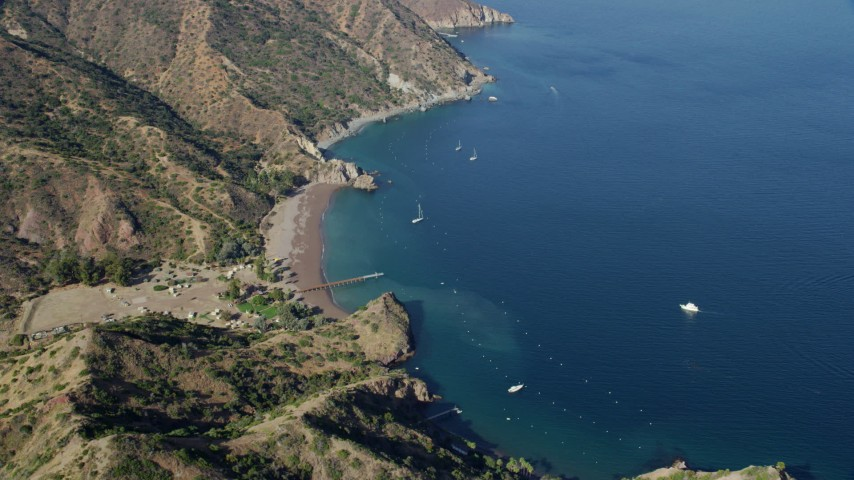 8K stock footage aerial video of a campground on the coast of Santa Catalina Island, California Aerial Stock Footage | AX0159_268