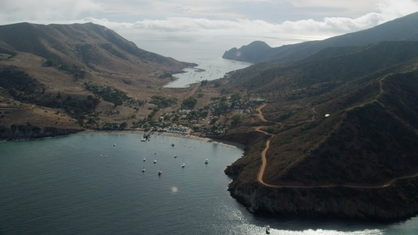 8K stock footage aerial video of the Two Harbors island community on Santa Catalina Island, California Aerial Stock Footage | AX0160_009