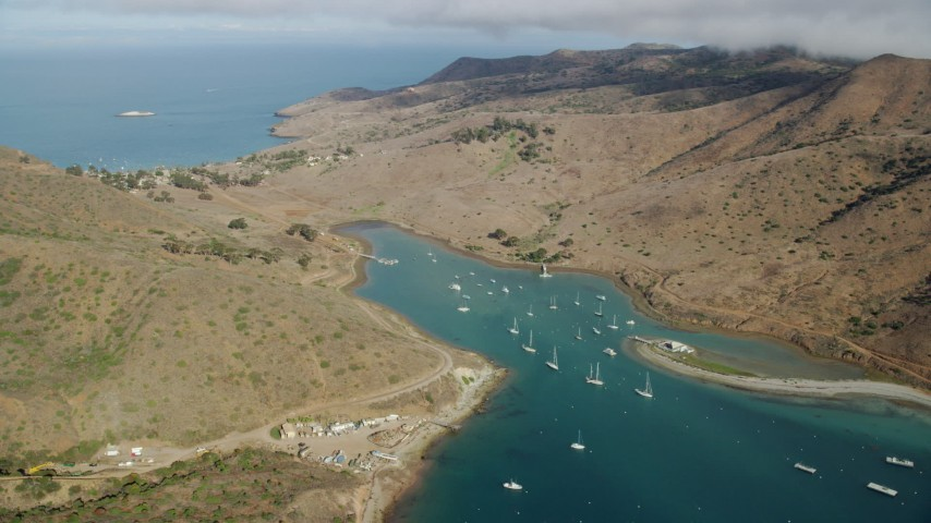 8K stock footage aerial video flying by sailboats in Catalina Harbor near the community of Two Harbors, Santa Catalina Island, California Aerial Stock Footage | AX0160_014
