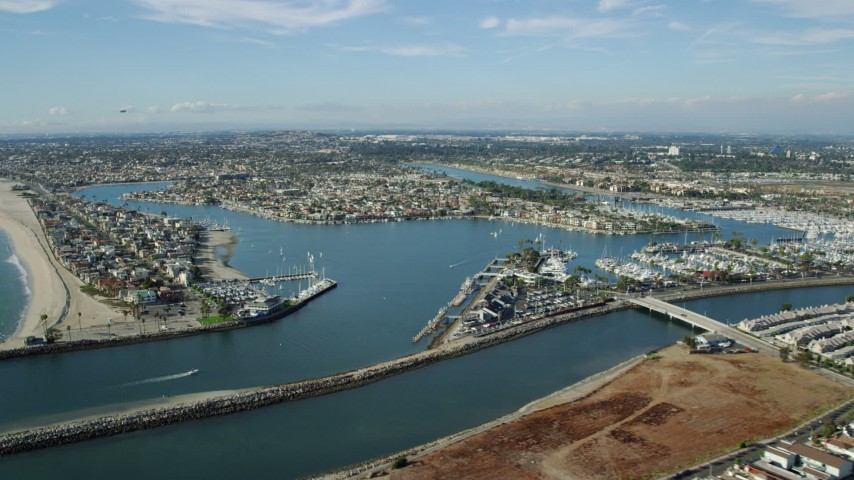 8K stock footage aerial video of coastal neighborhoods around Alamitos Bay in Long Beach, California Aerial Stock Footage | AX0160_056
