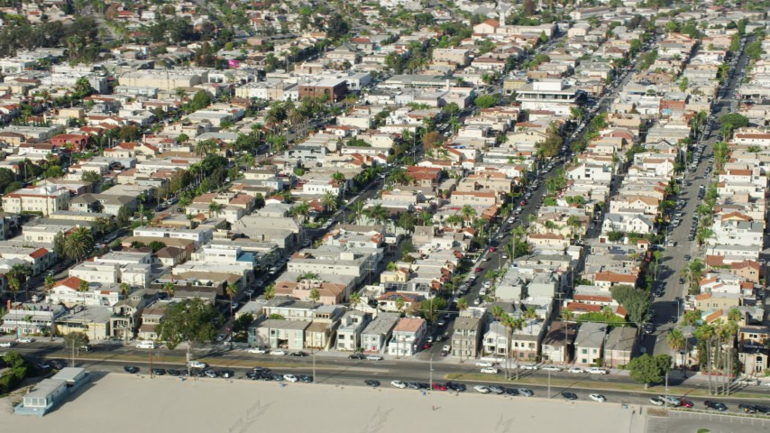 8K stock footage aerial video of Belmont Shore neighborhoods near the beach in Long Beach, California Aerial Stock Footage | AX0160_059