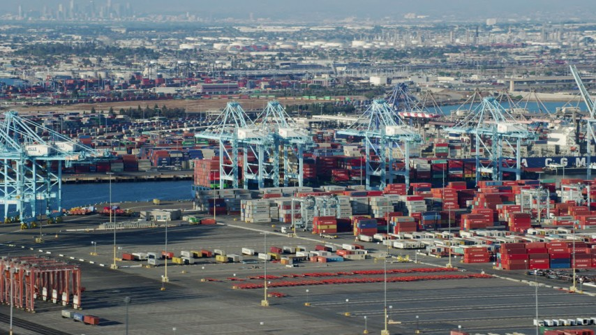 8K stock footage aerial video of cranes and shipping containers at the Port of Los Angeles, California Aerial Stock Footage | AX0161_014