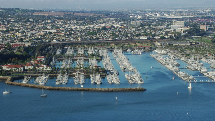 8K stock footage aerial video of boats docked at a marina in San Pedro, California Aerial Stock Footage | AX0161_015