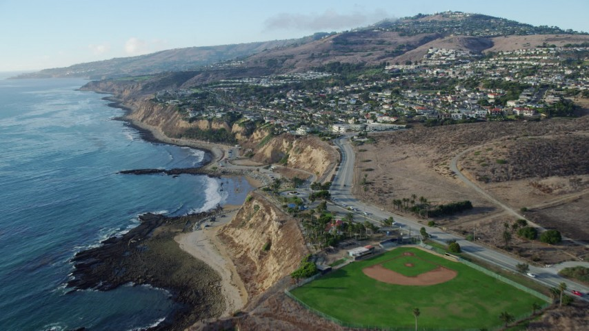 8K stock footage aerial video of White Point Park and coastal neighborhoods in San Pedro, California Aerial Stock Footage | AX0161_018