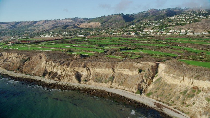 8K stock footage aerial video of Trump National Golf Club on coastal cliffs in Rancho Palos Verdes, California Aerial Stock Footage AX0161_021 | Axiom Images