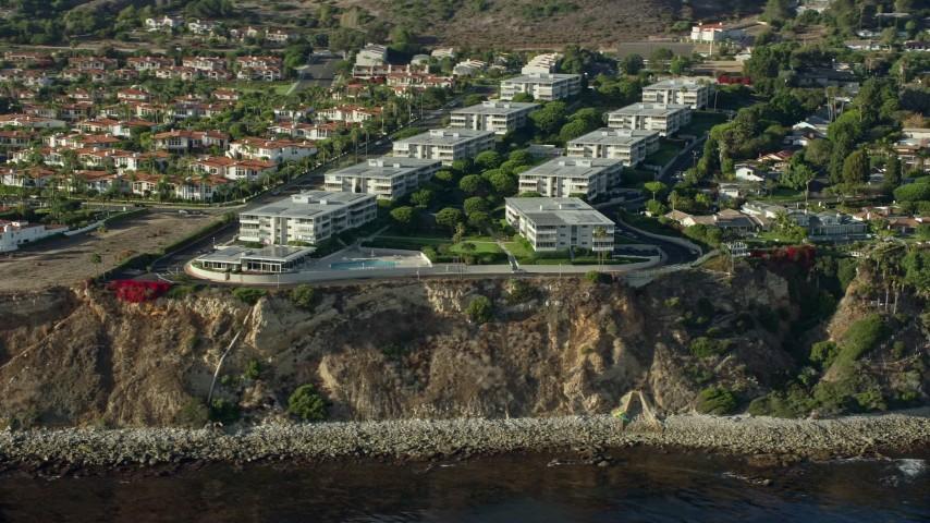 8K aerial video of Palos Verdes Bay Club condo complex in Rancho Palos Verdes, California Aerial Stock Footage | AX0161_025