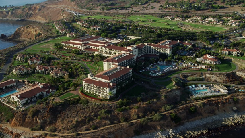 8K stock footage aerial video of the Terranea Resort in Rancho Palos Verdes, California Aerial Stock Footage | AX0161_026